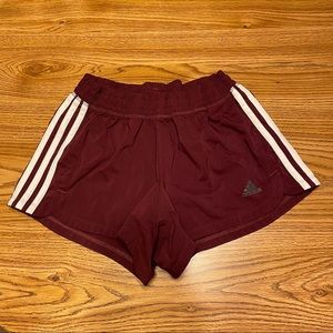 Adidas Burgundy & White Work Out Shorts Size S